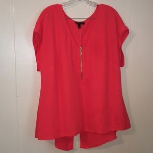 Lane Bryant Orange Zip Front Blouse, Sz 14/16